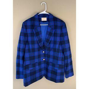 Vintage Pendleton Blue Plaid Wool Blazer 14 22x28
